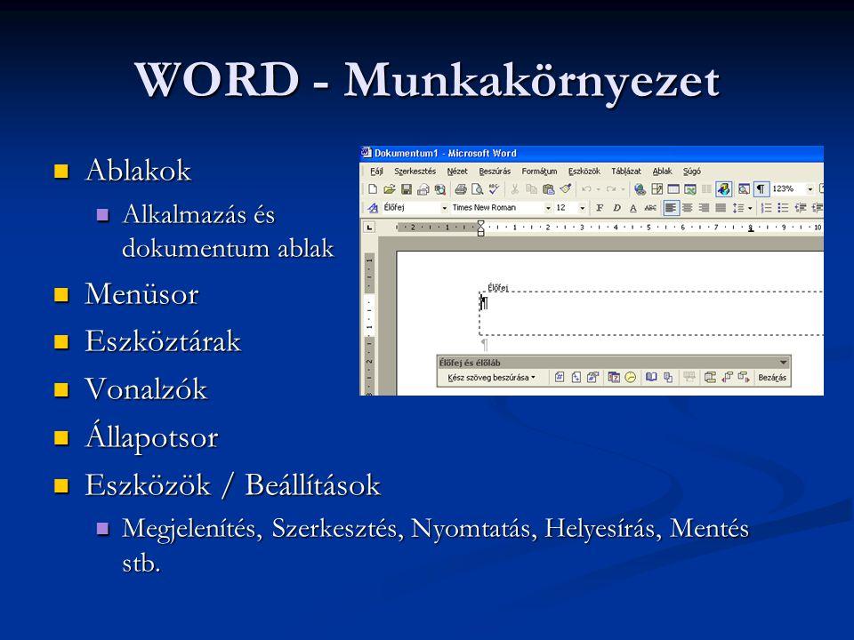 WORD - Munkakörnyezet  Ablakok  Alkalmazás és dokumentum ablak  Menüsor  Eszköztárak  Vonalzók  Állapotsor  Eszközök / Beállítások  Megjelenít