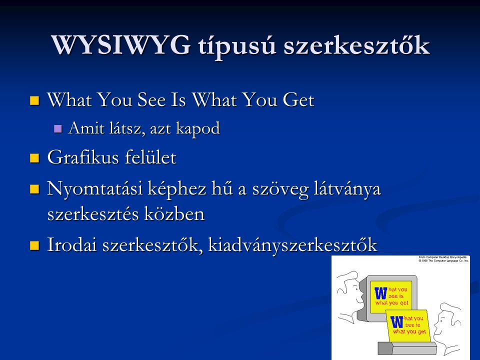 WYSIWYG típusú szerkesztők  What You See Is What You Get  Amit látsz, azt kapod  Grafikus felület  Nyomtatási képhez hű a szöveg látványa szerkesz