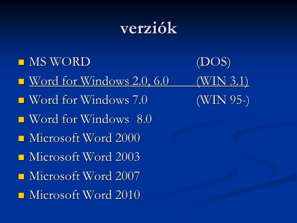 verziók  MS WORD(DOS)  Word for Windows 2.0, 6.0 (WIN 3.1)  Word for Windows 7.0(WIN 95-)  Word for Windows8.0  Microsoft Word 2000  Microsoft W