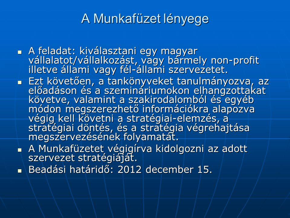 A Munkafüzet lényege  A feladat: kiválasztani egy magyar vállalatot/vállalkozást, vagy bármely non-profit illetve állami vagy fél-állami szervezetet.