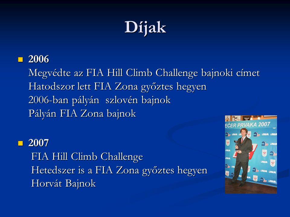 Díjak  2006 Megvédte az FIA Hill Climb Challenge bajnoki címet Hatodszor lett FIA Zona győztes hegyen 2006-ban pályán szlovén bajnok Pályán FIA Zona bajnok  2007 FIA Hill Climb Challenge Hetedszer is a FIA Zona győztes hegyen Horvát Bajnok