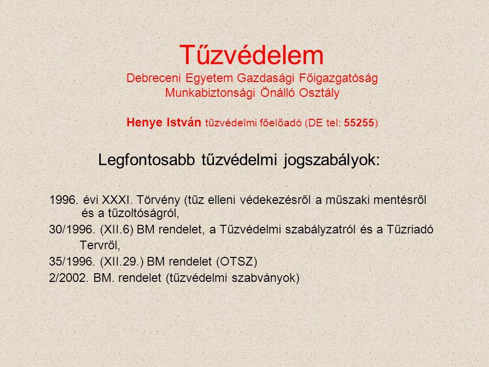 Tűzvédelem Debreceni Egyetem Gazdasági Főigazgatóság Munkabiztonsági Önálló Osztály Henye István tűzvédelmi főelőadó (DE tel: 55255) Legfontosabb tűzv