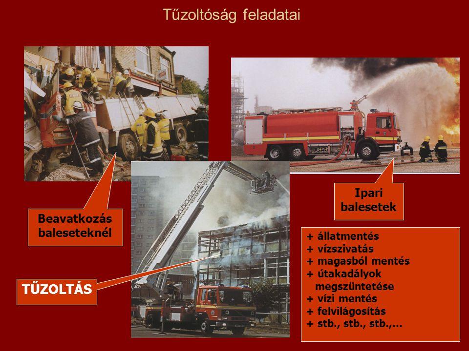 Tűzoltóság feladatai Ipari balesetek TŰZOLTÁS Beavatkozás baleseteknél + állatmentés + vízszivatás + magasból mentés + útakadályok megszüntetése + víz