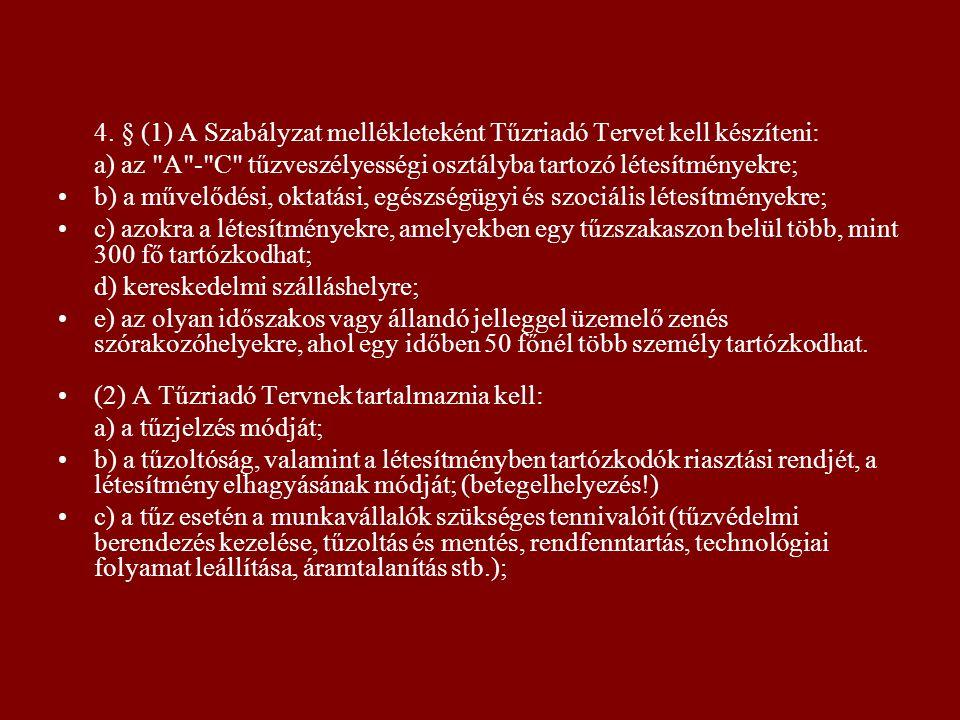 4. § (1) A Szabályzat mellékleteként Tűzriadó Tervet kell készíteni: a) az