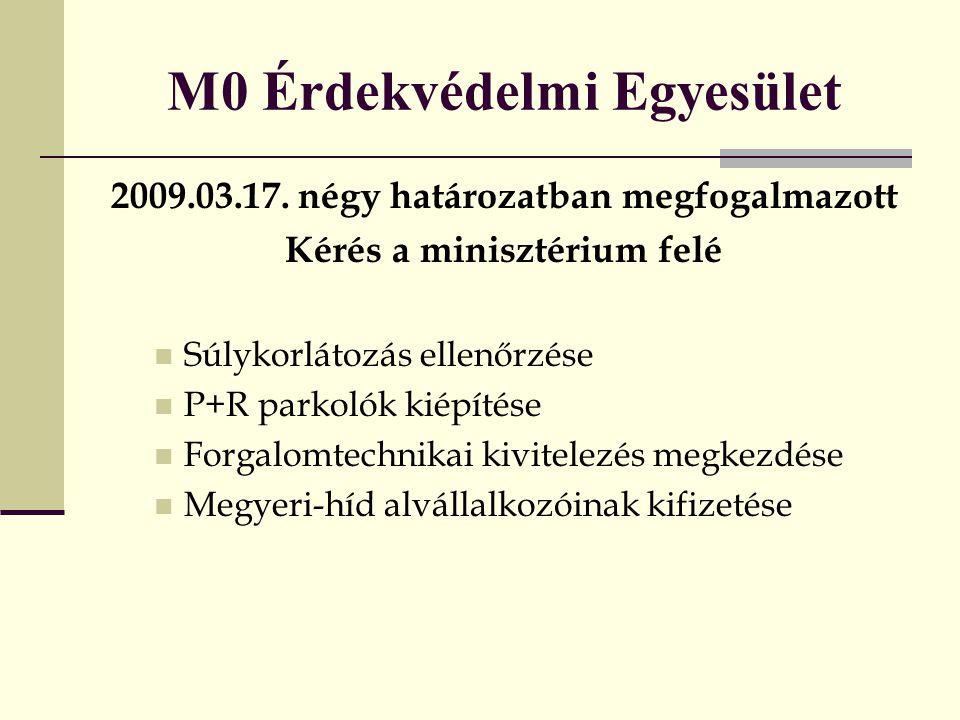 M0 Érdekvédelmi Egyesület 2009.03.17. négy határozatban megfogalmazott Kérés a minisztérium felé  Súlykorlátozás ellenőrzése  P+R parkolók kiépítése