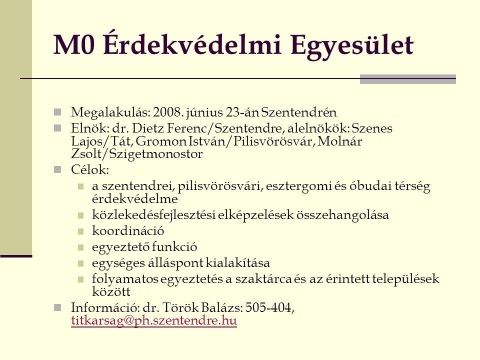 M0 Érdekvédelmi Egyesület  Megalakulás: 2008. június 23-án Szentendrén  Elnök: dr. Dietz Ferenc/Szentendre, alelnökök: Szenes Lajos/Tát, Gromon Istv