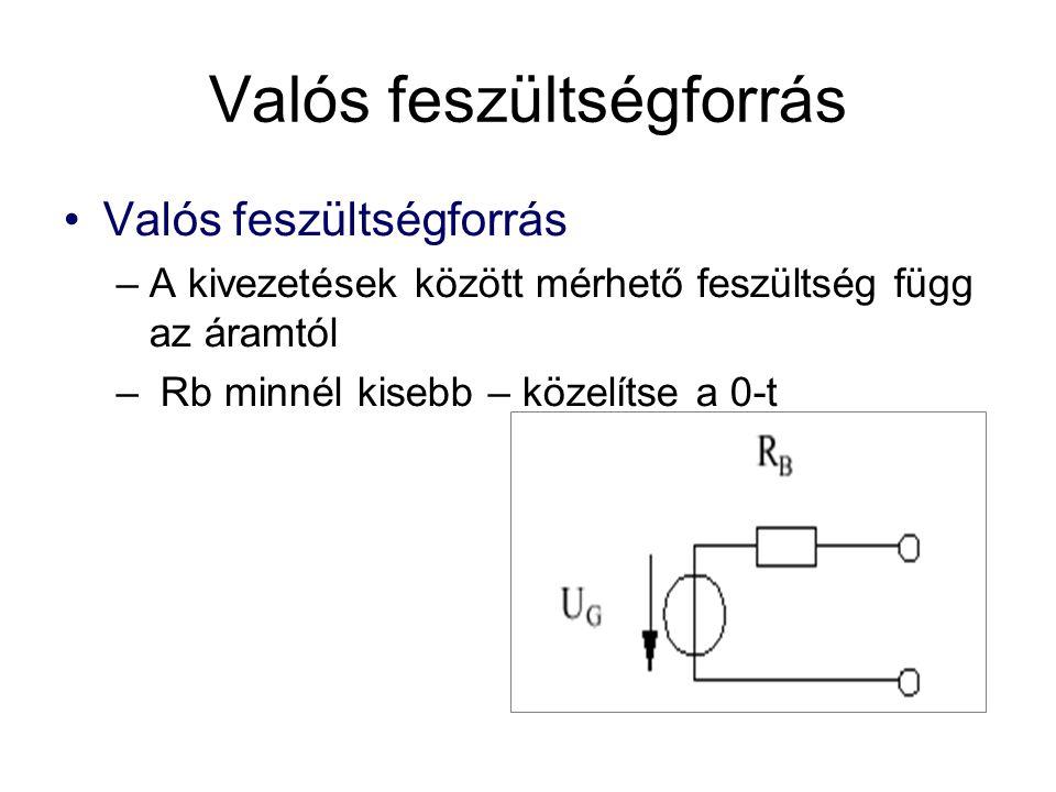 •Valós feszültségforrás –A kivezetések között mérhető feszültség függ az áramtól – Rb minnél kisebb – közelítse a 0-t Valós feszültségforrás