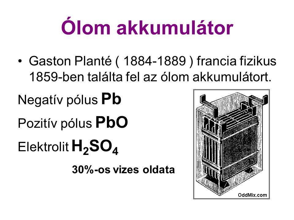 Ólom akkumulátor •Gaston Planté ( 1884-1889 ) francia fizikus 1859-ben találta fel az ólom akkumulátort. Negatív pólus Pb Pozitív pólus PbO Elektrolit