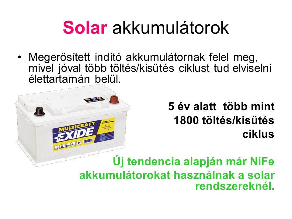 Solar akkumulátorok •Megerősített indító akkumulátornak felel meg, mivel jóval több töltés/kisütés ciklust tud elviselni élettartamán belül. 5 év alat