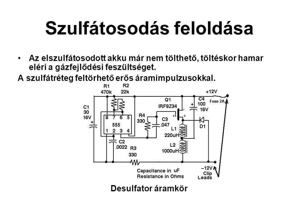Szulfátosodás feloldása •Az elszulfátosodott akku már nem tölthető, töltéskor hamar eléri a gázfejlődési feszültséget. A szulfátréteg feltörhető erős