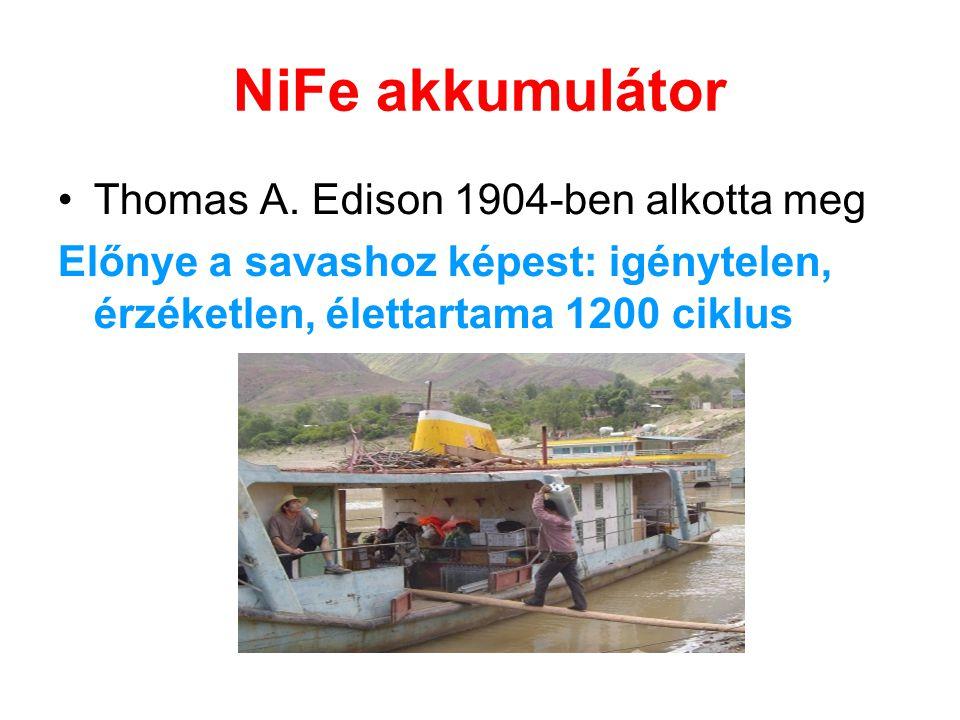 NiFe akkumulátor •Thomas A. Edison 1904-ben alkotta meg Előnye a savashoz képest: igénytelen, érzéketlen, élettartama 1200 ciklus