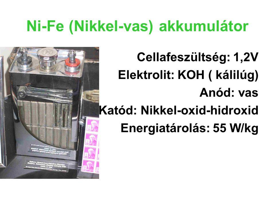 Ni-Fe (Nikkel-vas) akkumulátor Cellafeszültség: 1,2V Elektrolit: KOH ( kálilúg) Anód: vas Katód: Nikkel-oxid-hidroxid Energiatárolás: 55 W/kg