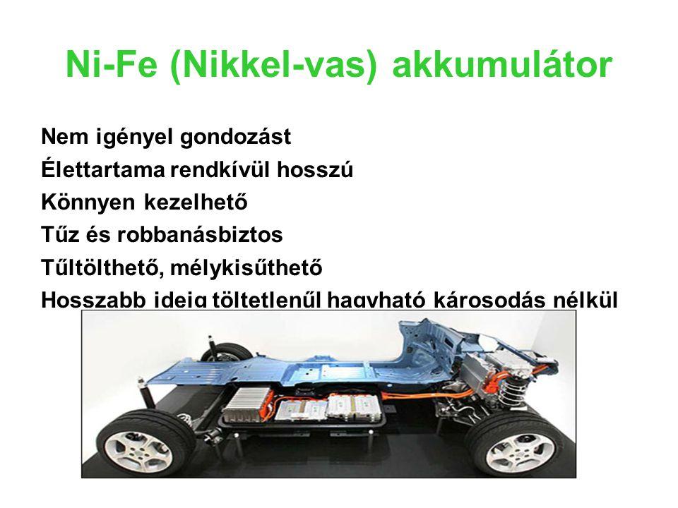 Ni-Fe (Nikkel-vas) akkumulátor Nem igényel gondozást Élettartama rendkívül hosszú Könnyen kezelhető Tűz és robbanásbiztos Tűltölthető, mélykisűthető H