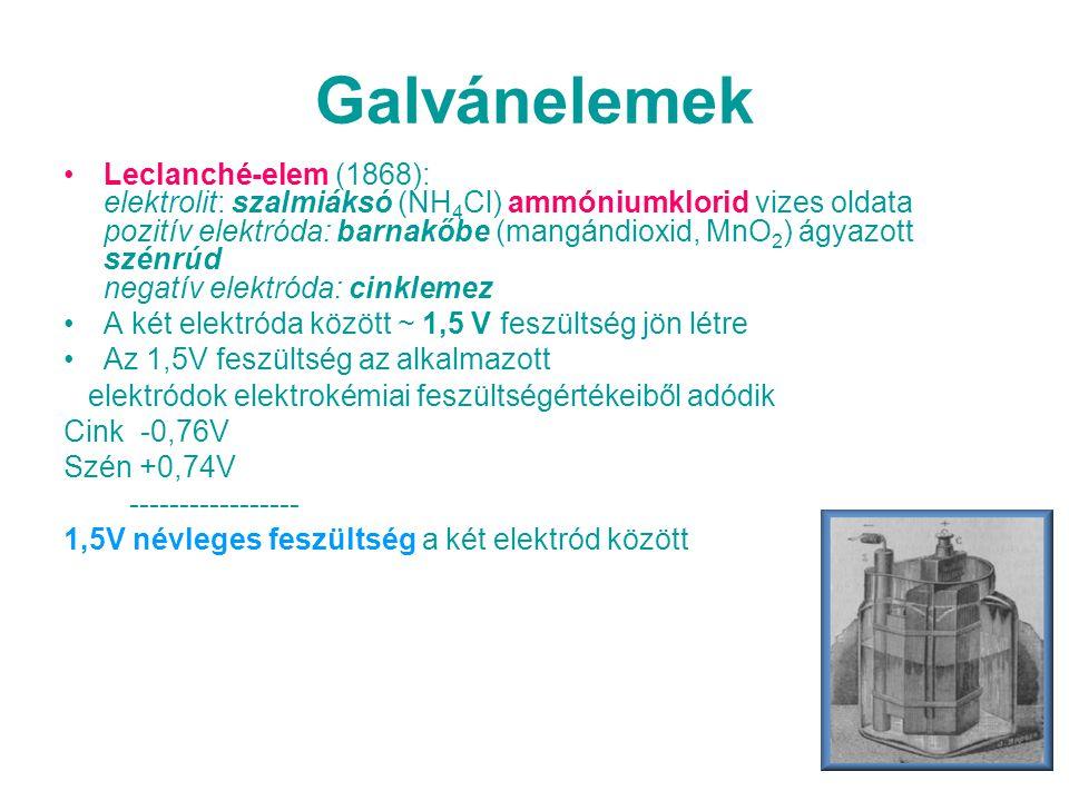 Galvánelemek •Leclanché-elem (1868): elektrolit: szalmiáksó (NH 4 Cl) ammóniumklorid vizes oldata pozitív elektróda: barnakőbe (mangándioxid, MnO 2 )