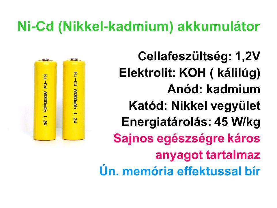Ni-Cd (Nikkel-kadmium) akkumulátor Cellafeszültség: 1,2V Elektrolit: KOH ( kálilúg) Anód: kadmium Katód: Nikkel vegyület Energiatárolás: 45 W/kg Sajno