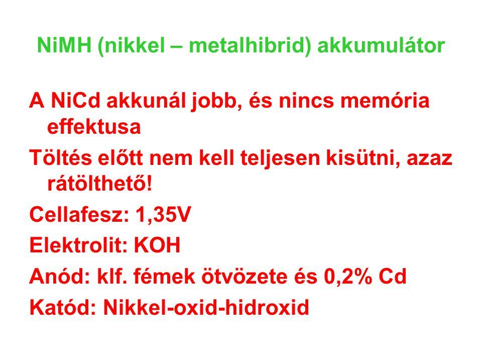 NiMH (nikkel – metalhibrid) akkumulátor A NiCd akkunál jobb, és nincs memória effektusa Töltés előtt nem kell teljesen kisütni, azaz rátölthető! Cella