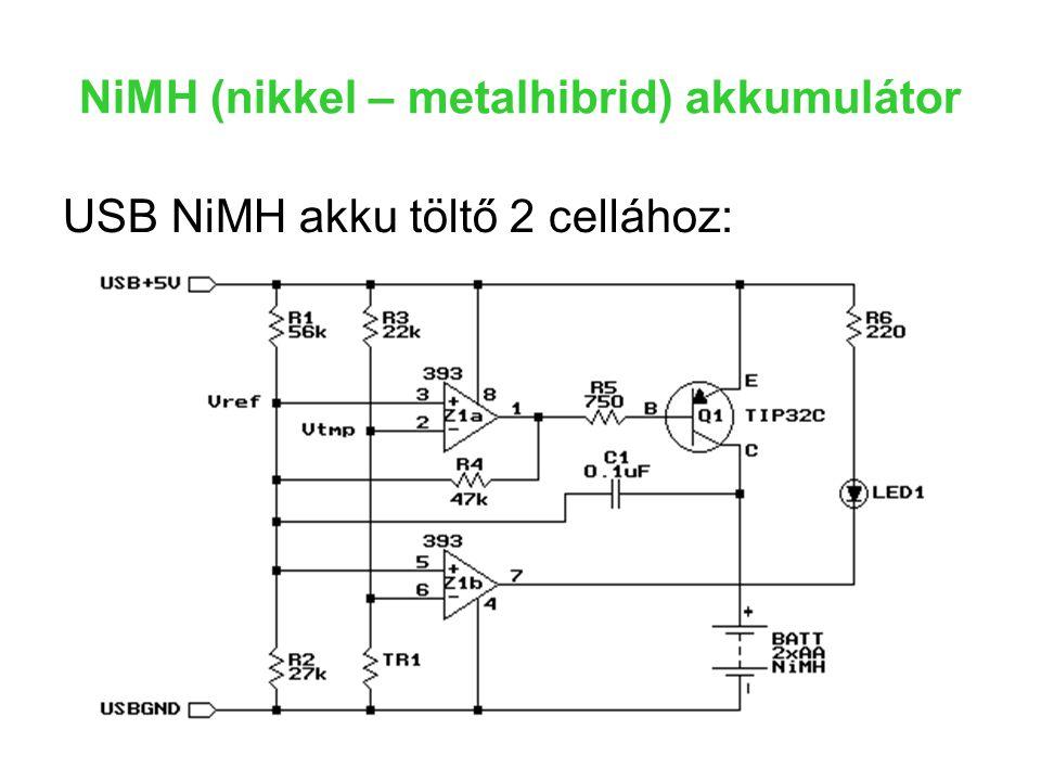 NiMH (nikkel – metalhibrid) akkumulátor USB NiMH akku töltő 2 cellához: