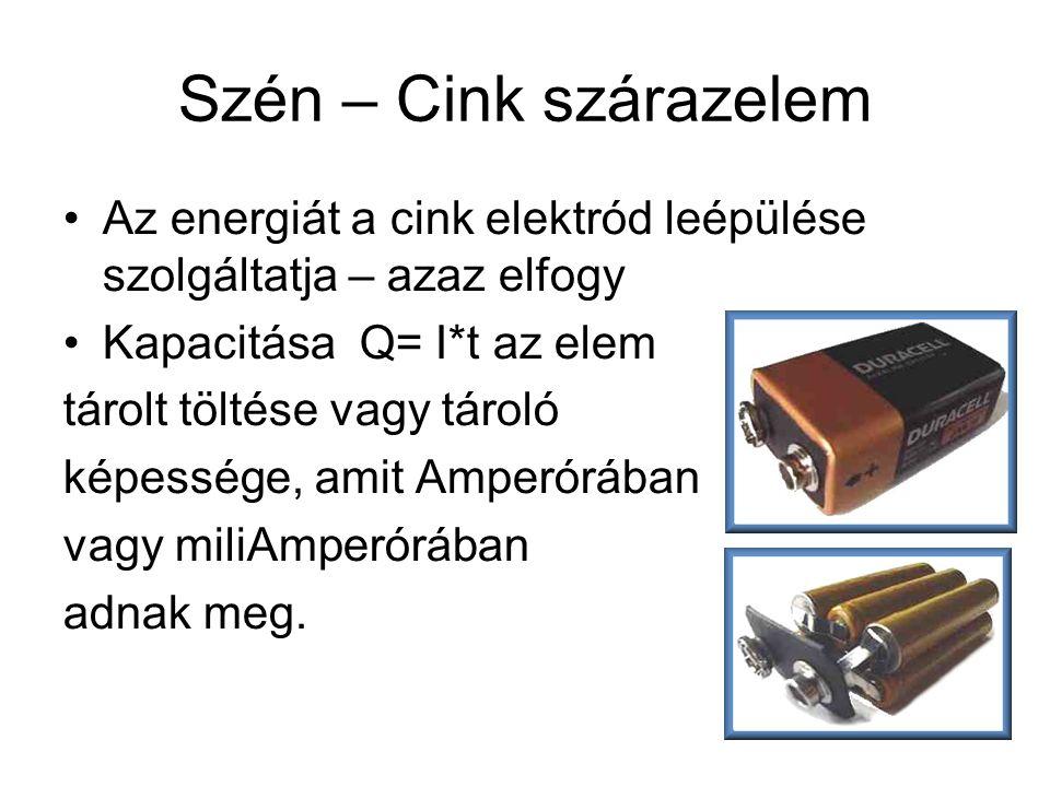 Szén – Cink szárazelem •Az energiát a cink elektród leépülése szolgáltatja – azaz elfogy •Kapacitása Q= I*t az elem tárolt töltése vagy tároló képessé