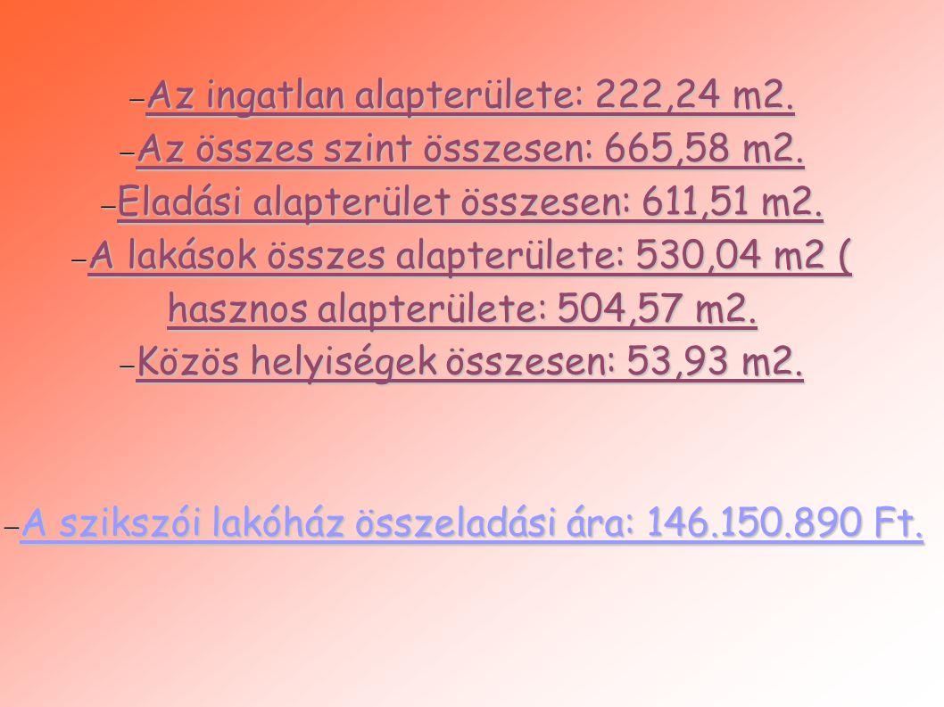  Az ingatlan alapterülete: 222,24 m2.  Az összes szint összesen: 665,58 m2.  Eladási alapterület összesen: 611,51 m2.  A lakások összes alapterüle