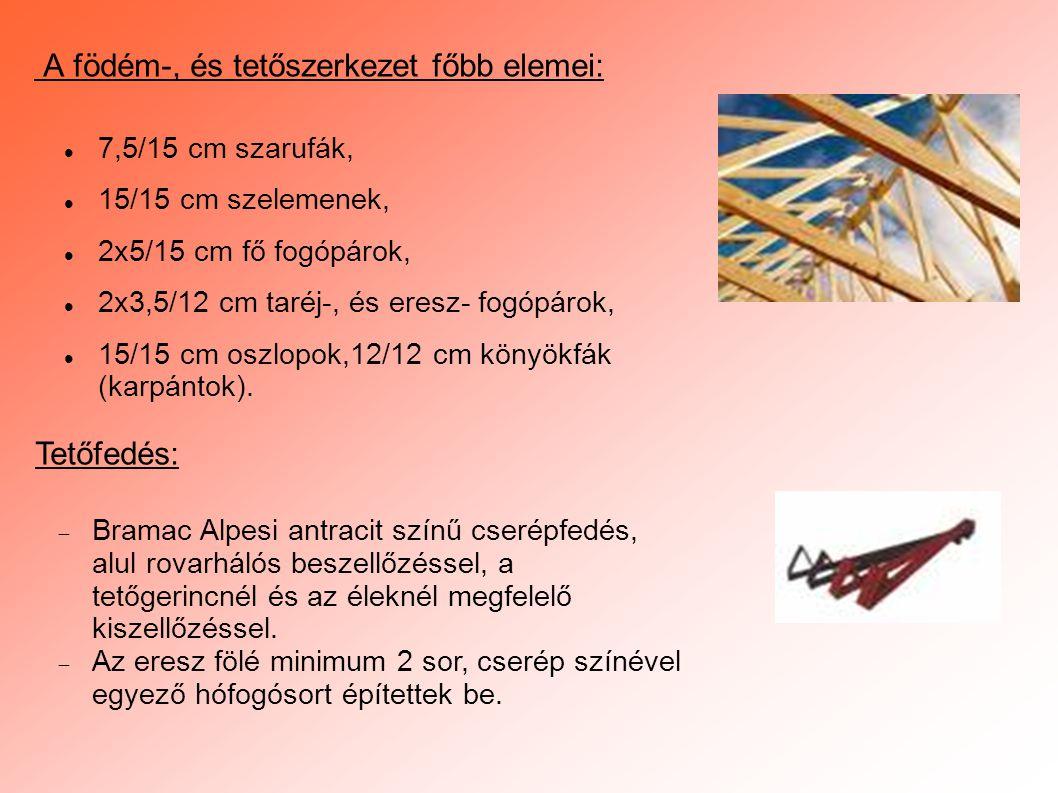  7,5/15 cm szarufák,  15/15 cm szelemenek,  2x5/15 cm fő fogópárok,  2x3,5/12 cm taréj-, és eresz- fogópárok,  15/15 cm oszlopok,12/12 cm könyökf