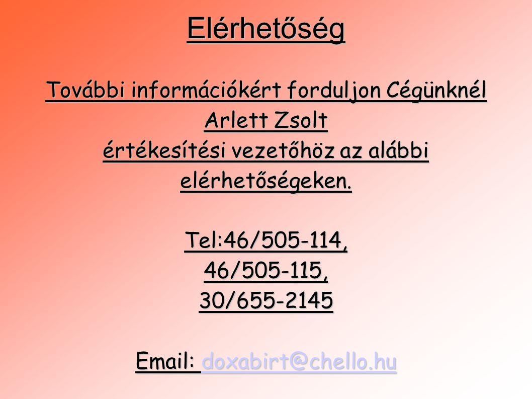 Elérhetőség További információkért forduljon Cégünknél Arlett Zsolt értékesítési vezetőhöz az alábbi elérhetőségeken. Tel:46/505-114,46/505-115,30/655