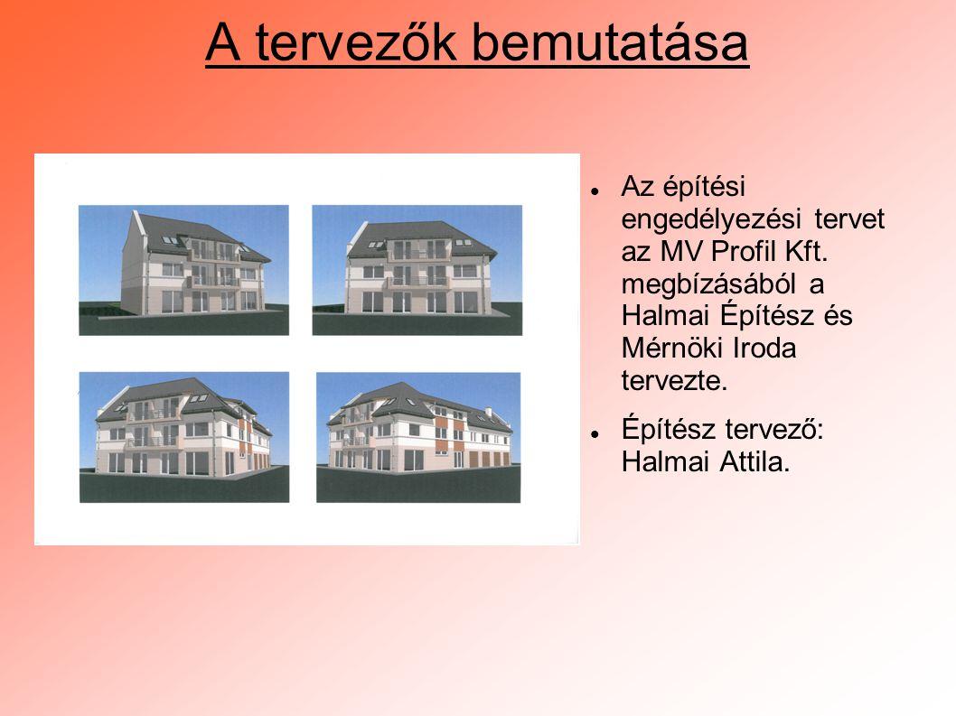 A tervezők bemutatása  Az építési engedélyezési tervet az MV Profil Kft. megbízásából a Halmai Építész és Mérnöki Iroda tervezte.  Építész tervező:
