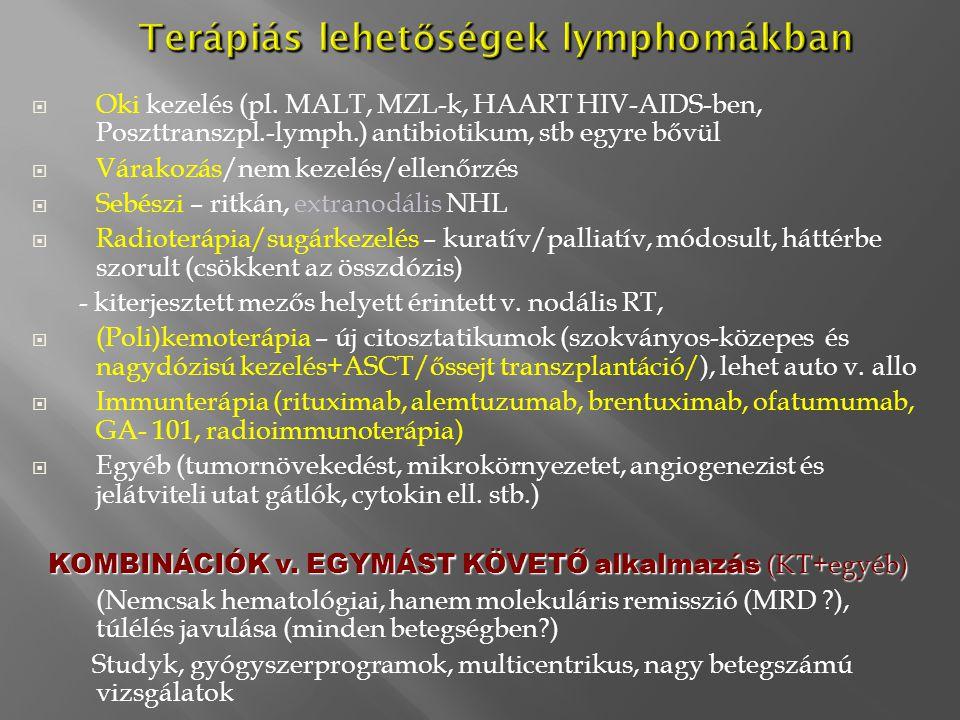 Terápiás lehet ő ségek lymphomákban Terápiás lehet ő ségek lymphomákban  Oki kezelés (pl. MALT, MZL-k, HAART HIV-AIDS-ben, Poszttranszpl.-lymph.) ant