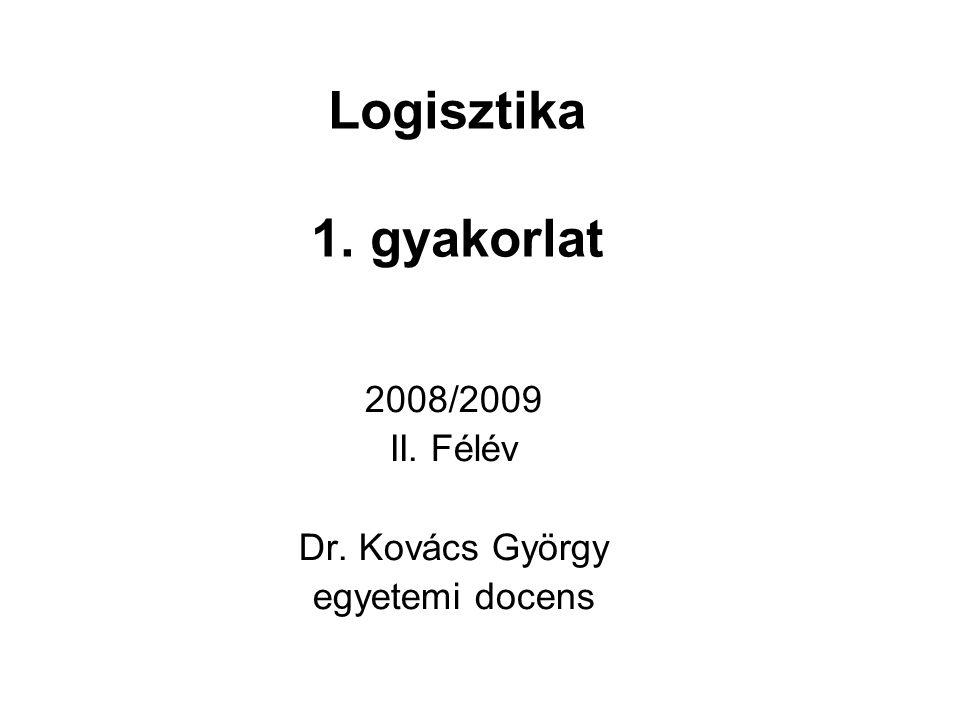Logisztika 1. gyakorlat 2008/2009 II. Félév Dr. Kovács György egyetemi docens