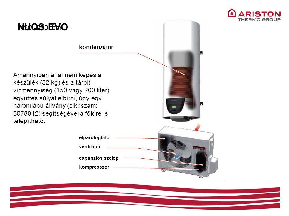 NUOS EVO SPLIT – szerkezeti felépítés elpárologtató kondenzátor ventilátor expanziós szelep kompresszor 150 -200 liter Amennyiben a fal nem képes a ké