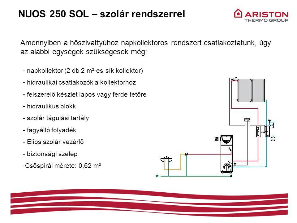 NUOS 250 SOL – szolár rendszerrel Amennyiben a hőszivattyúhoz napkollektoros rendszert csatlakoztatunk, úgy az alábbi egységek szükségesek még: - napk