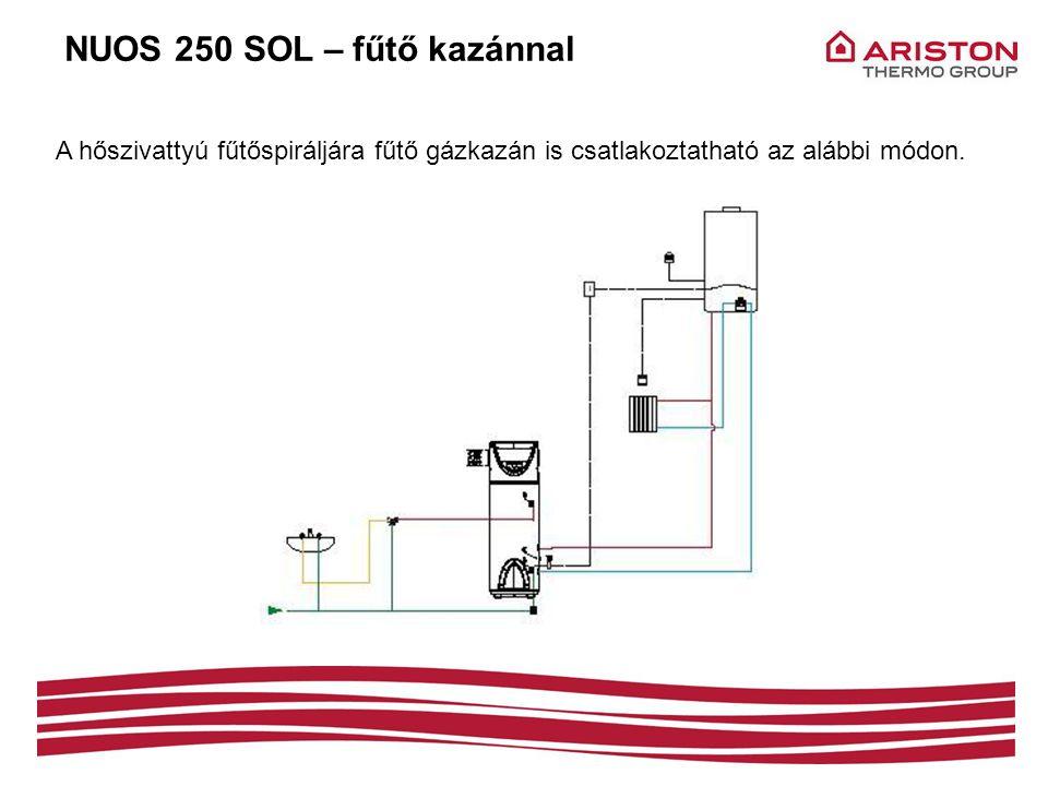 NUOS 250 SOL – fűtő kazánnal A hőszivattyú fűtőspiráljára fűtő gázkazán is csatlakoztatható az alábbi módon.