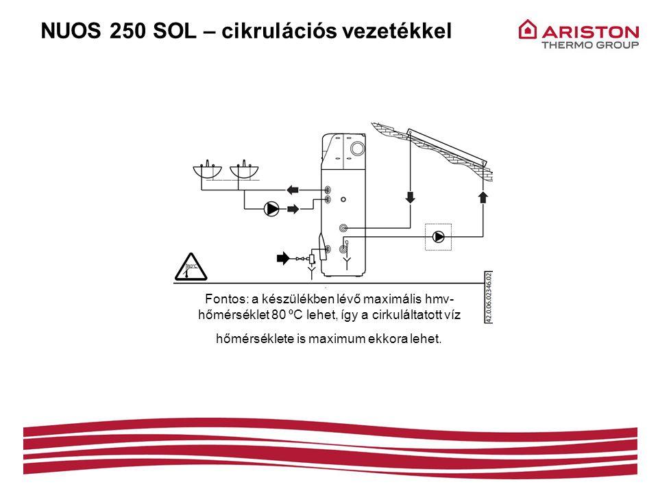 NUOS 250 SOL – cikrulációs vezetékkel Fontos: a készülékben lévő maximális hmv- hőmérséklet 80 ºC lehet, így a cirkuláltatott víz hőmérséklete is maxi
