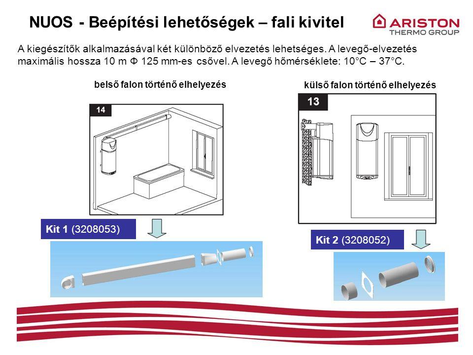 külső falon történő elhelyezés A kiegészítők alkalmazásával két különböző elvezetés lehetséges. A levegő-elvezetés maximális hossza 10 m Ф 125 mm-es c