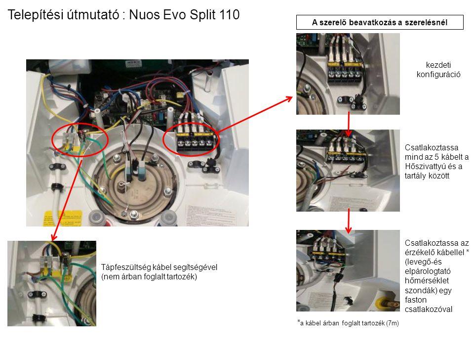 Tápfeszültség kábel segítségével (nem árban foglalt tartozék) A szerelő beavatkozás a szerelésnél kezdeti konfiguráció Csatlakoztassa mind az 5 kábelt