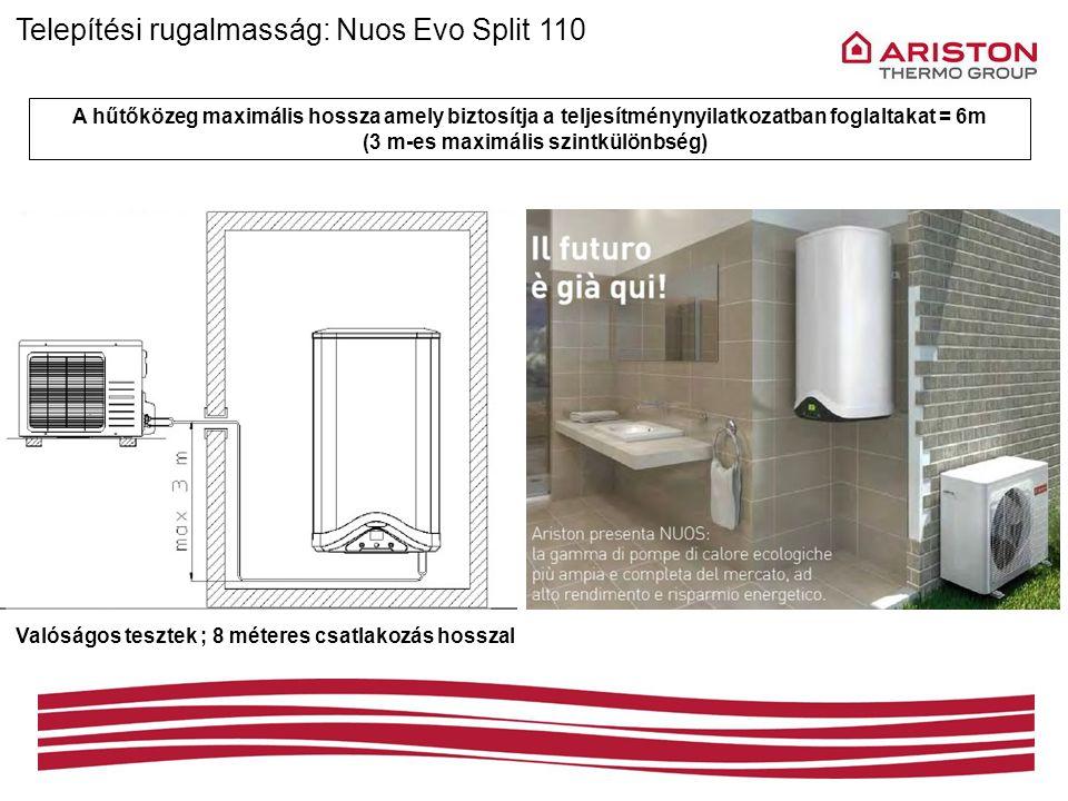 Telepítési rugalmasság: Nuos Evo Split 110 A hűtőközeg maximális hossza amely biztosítja a teljesítménynyilatkozatban foglaltakat = 6m (3 m-es maximál