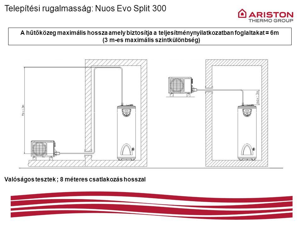 Telepítési rugalmasság: Nuos Evo Split 300 A hűtőközeg maximális hossza amely biztosítja a teljesítménynyilatkozatban foglaltakat = 6m (3 m-es maximál
