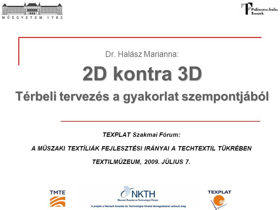 2D kontra 3D Térbeli tervezés a gyakorlat szempontjából Dr. Halász Marianna: 2D kontra 3D Térbeli tervezés a gyakorlat szempontjából TEXPLAT Szakmai F