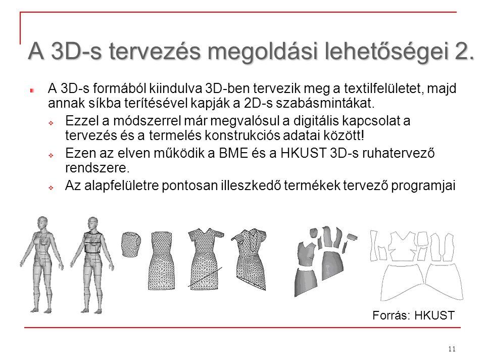 11 A 3D-s tervezés megoldási lehetőségei 2. A 3D-s formából kiindulva 3D-ben tervezik meg a textilfelületet, majd annak síkba terítésével kapják a 2D-