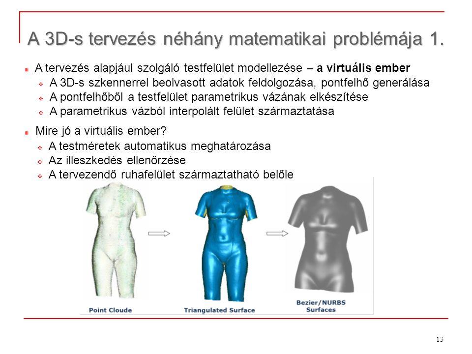 13 A 3D-s tervezés néhány matematikai problémája 1. ×274 A tervezés alapjául szolgáló testfelület modellezése – a virtuális ember  A 3D-s szkennerrel