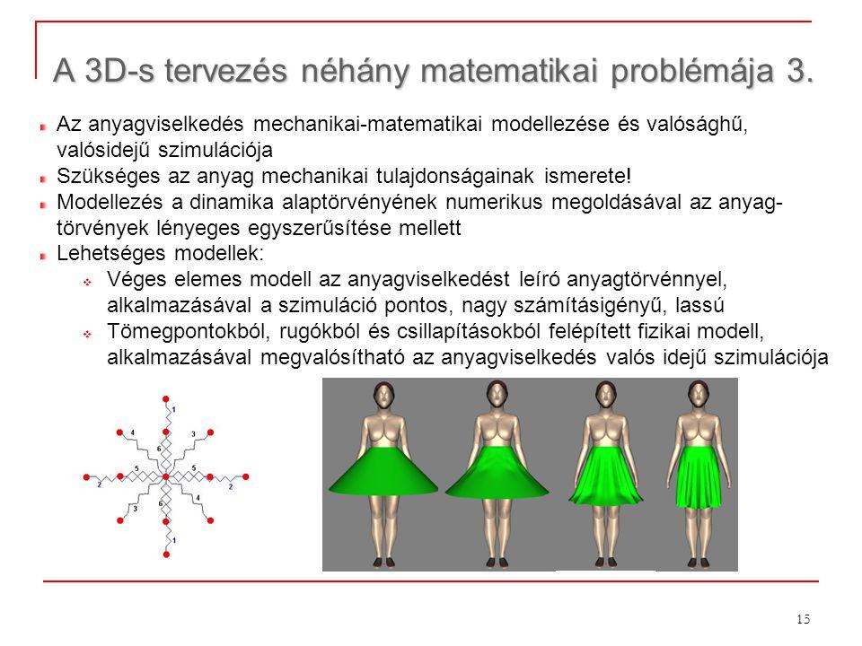 15 A 3D-s tervezés néhány matematikai problémája 3. Az anyagviselkedés mechanikai-matematikai modellezése és valósághű, valósidejű szimulációja Szüksé