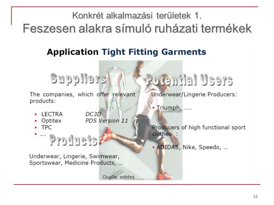 16 Konkrét alkalmazási területek 1. Feszesen alakra símuló ruházati termékek