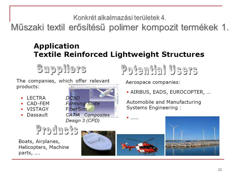 20 Konkrét alkalmazási területek 4. Műszaki textil erősítésű polimer kompozit termékek 1.