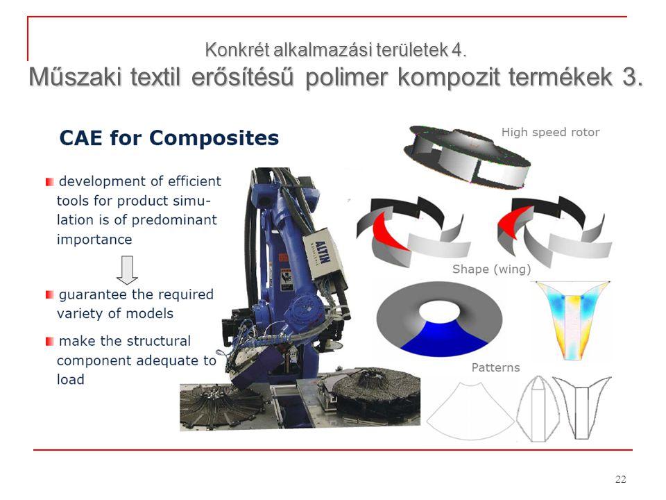 22 Konkrét alkalmazási területek 4. Műszaki textil erősítésű polimer kompozit termékek 3.