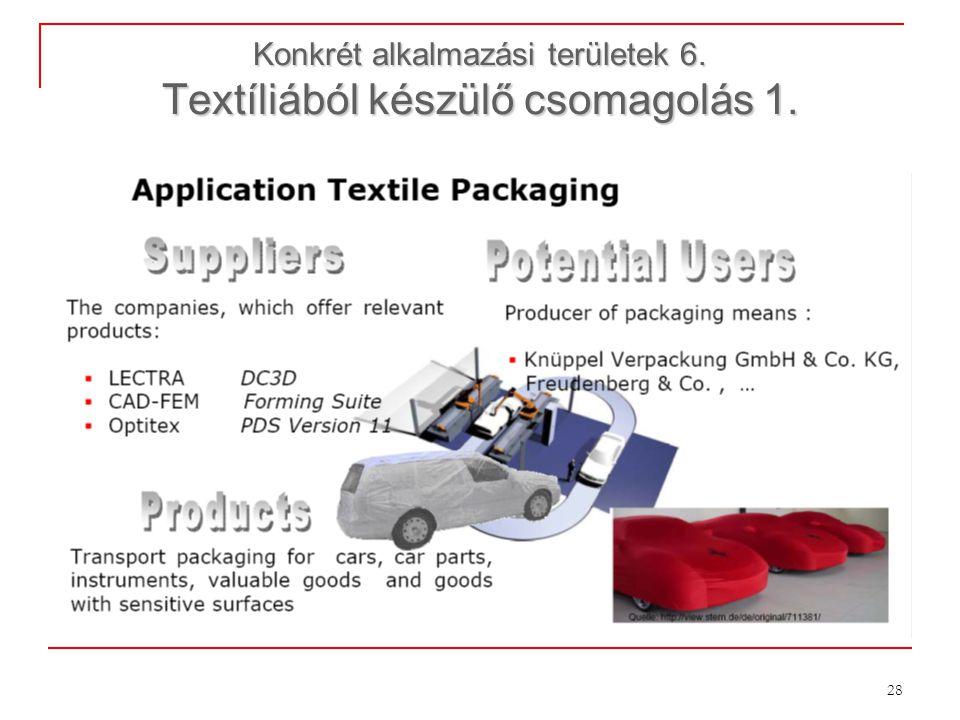 28 Konkrét alkalmazási területek 6. Textíliából készülő csomagolás 1.