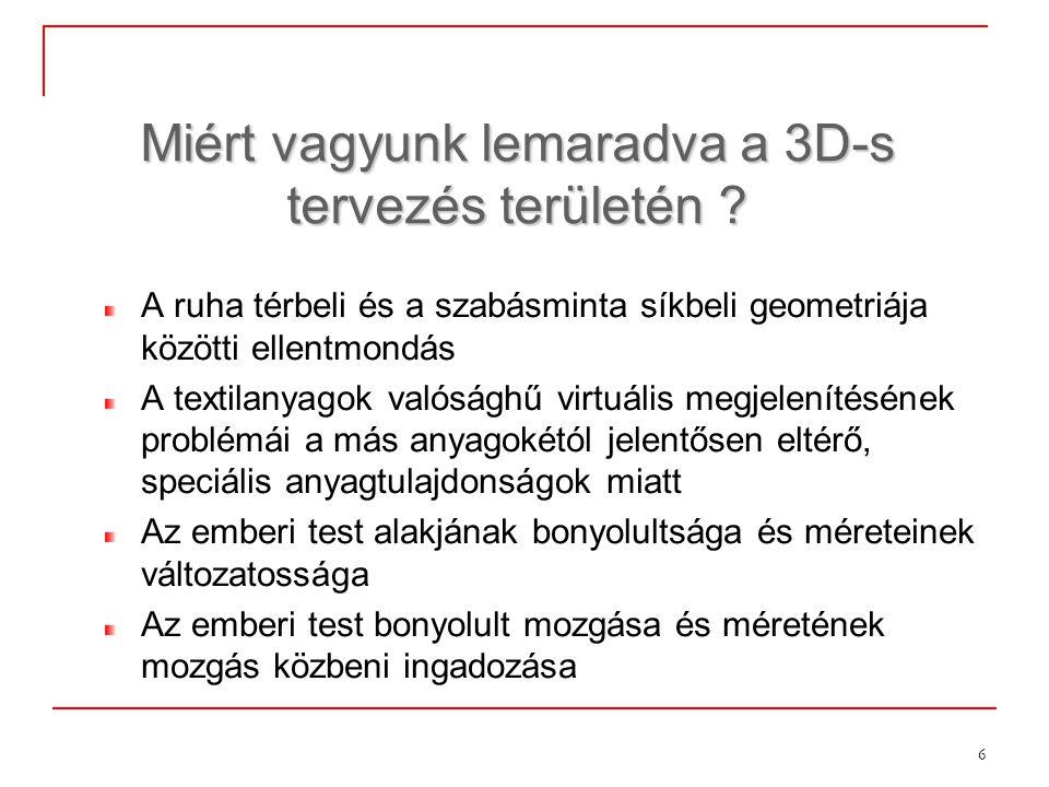 6 Miért vagyunk lemaradva a 3D-s tervezés területén ? A ruha térbeli és a szabásminta síkbeli geometriája közötti ellentmondás A textilanyagok valóság
