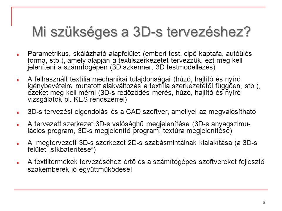 8 Mi szükséges a 3D-s tervezéshez? Parametrikus, skálázható alapfelület (emberi test, cipő kaptafa, autóülés forma, stb.), amely alapján a textilszerk