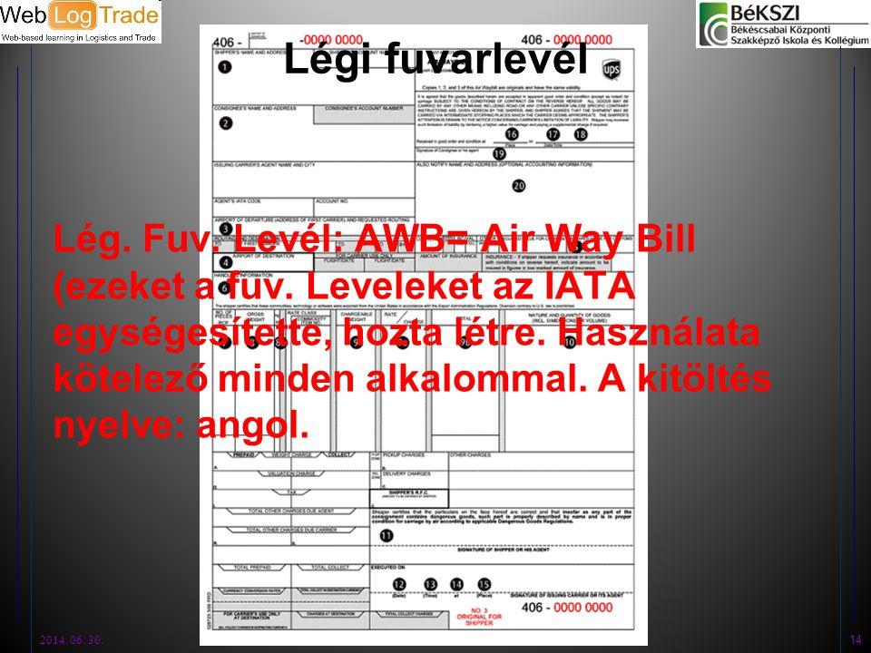 Légi fuvarlevél Lég. Fuv. Levél: AWB= Air Way Bill (ezeket a fuv. Leveleket az IATA egységesítette, hozta létre. Használata kötelező minden alkalommal