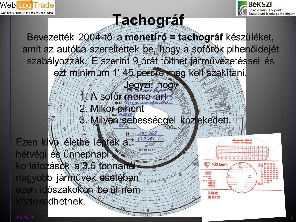 Tachográf Bevezették 2004-től a menetíró = tachográf készüléket, amit az autóba szereltettek be, hogy a sofőrök pihenőidejét szabályozzák. E szerint 9