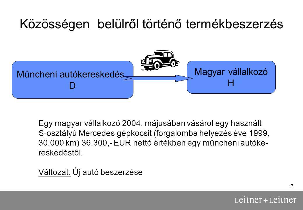 17 Közösségen belülről történő termékbeszerzés Müncheni autókereskedés D Magyar vállalkozó H Egy magyar vállalkozó 2004.