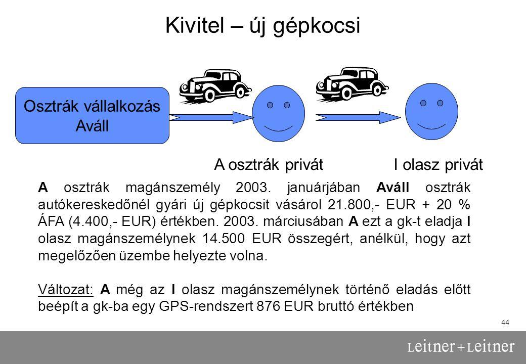 44 Kivitel – új gépkocsi Osztrák vállalkozás Aváll A osztrák privátI olasz privát A osztrák magánszemély 2003.